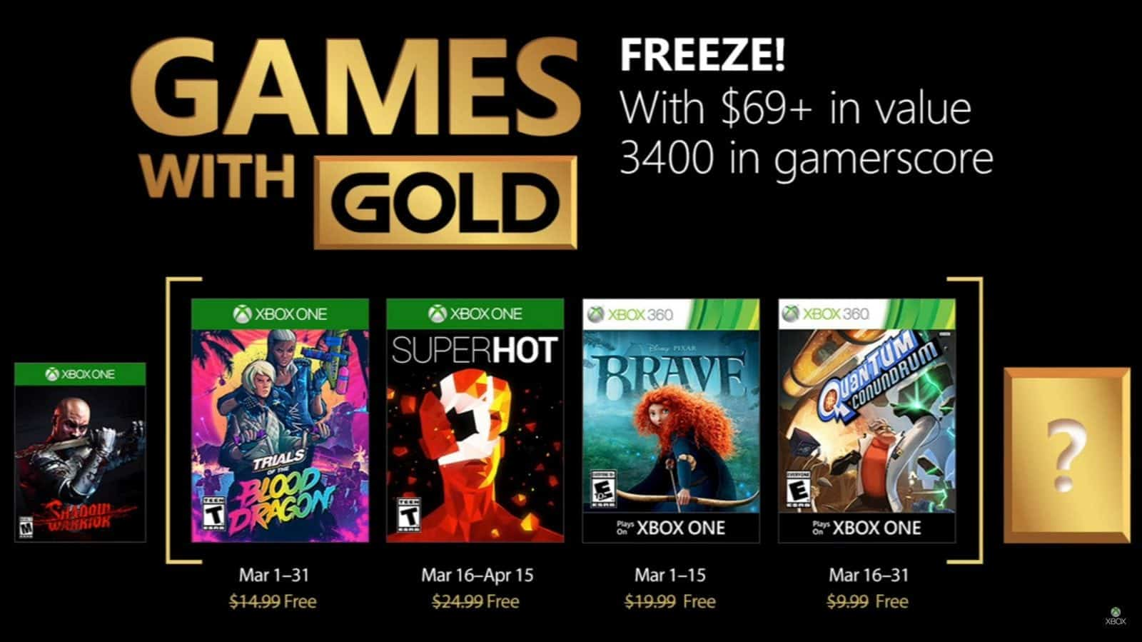 games with gold março 2018