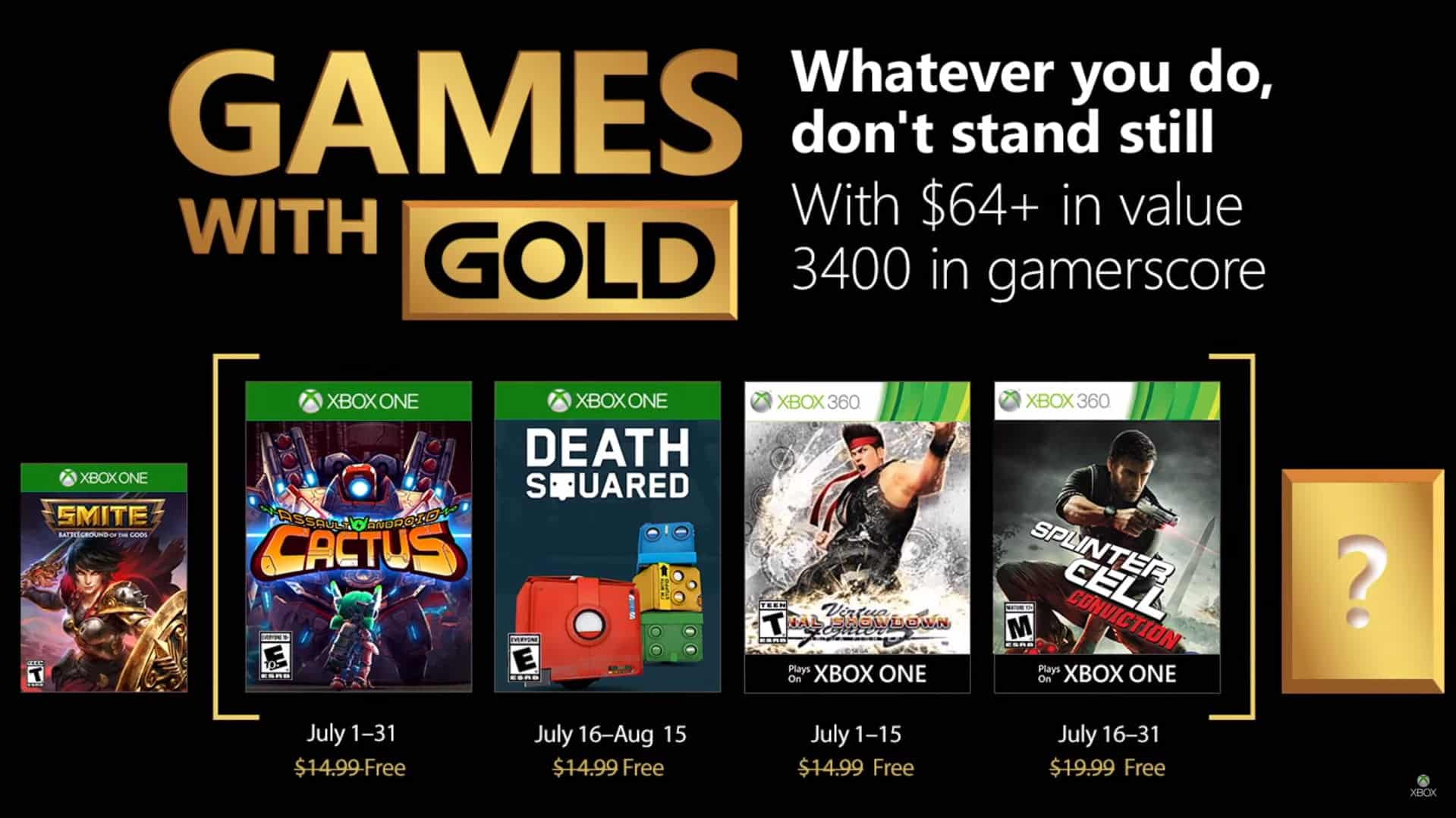 games with gold Julho 2018