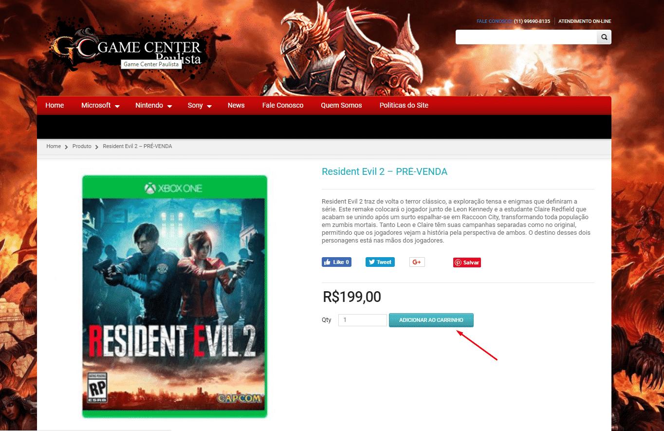 Resident Evil 2 GAME Center Paulista