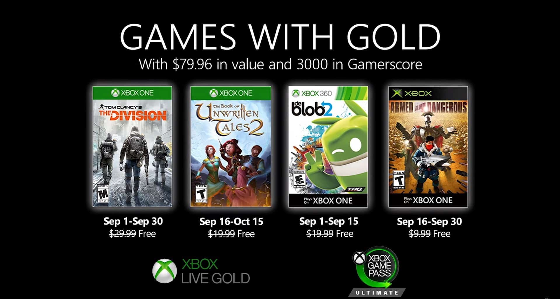 games with gold setembro